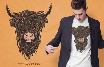 Diseño de camiseta colorida de Highland Cow