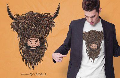 Diseño de camiseta colorida Highland Cow