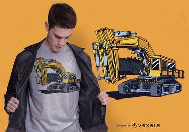 Design de t-shirt de máquinas escavadeira