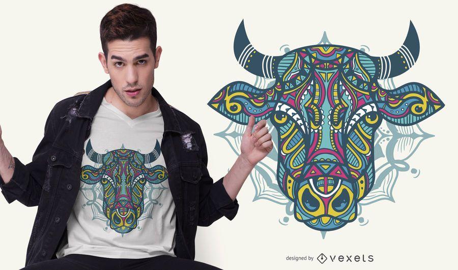 Diseño de camiseta Mandala Bull