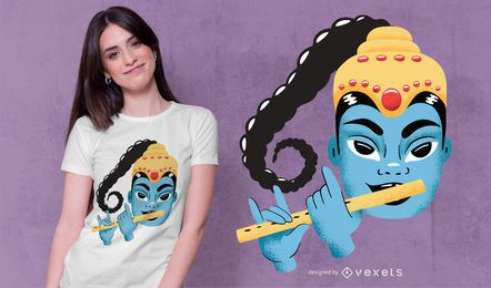 Diseño de camiseta Krishna Cute Illustration