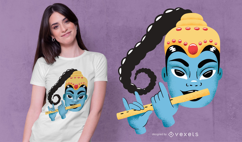 Krishna Cute Illustration T-shirt Design