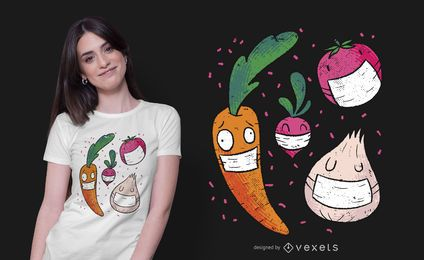 Diseño de camiseta Face Mask Veggies