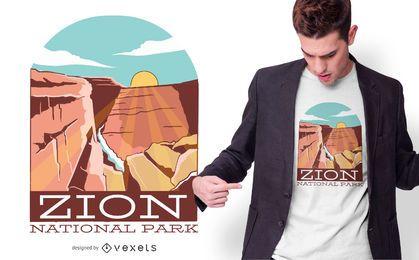 Projeto do t-shirt do parque nacional de Zion