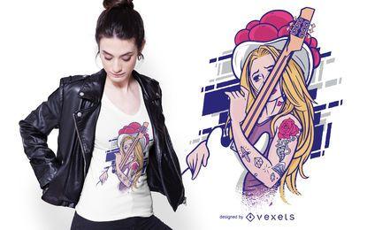 Projeto do t-shirt da menina do rock and roll