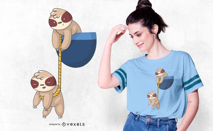 Design de camiseta de bolso de preguiça