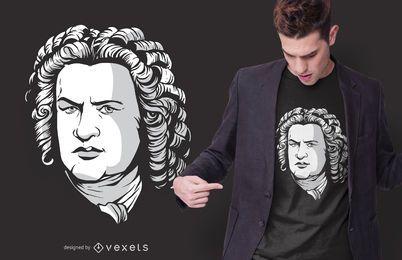 Diseño de camiseta de retrato de Bach