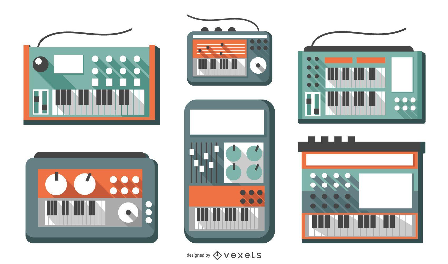Conjunto de sintetizador de design plano