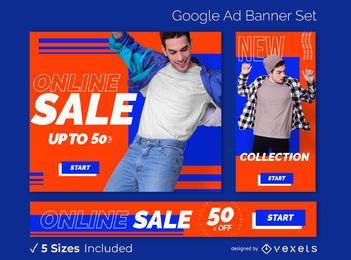 Conjunto de banners de anuncios de venta de tienda en línea