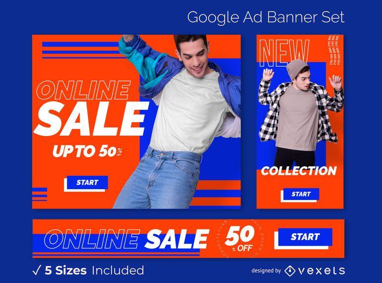 Conjunto de banner de anuncios de venta de tienda en línea