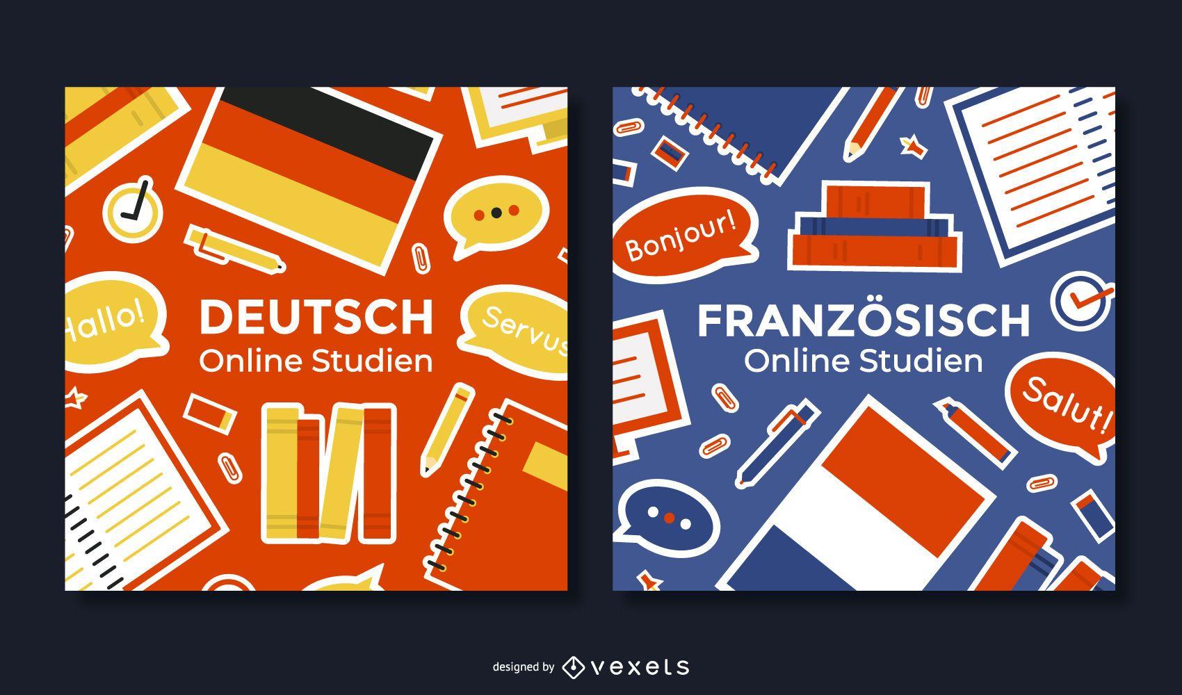 German School Square Banner Set