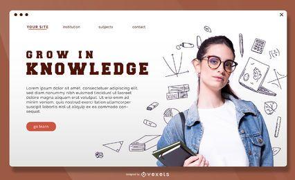Modelo de página de destino para crescer em conhecimento
