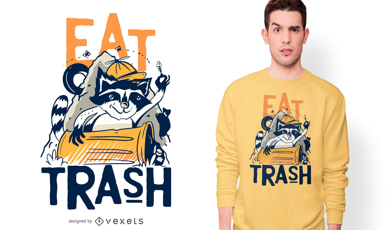 Diseño de camiseta divertida de mapache come basura