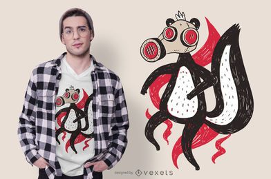 Diseño de camiseta de ilustración de máscara de gas Skunk