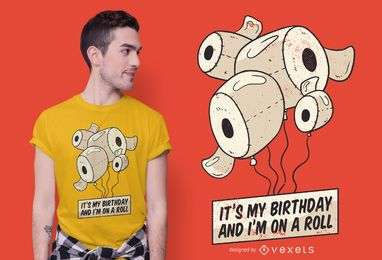 Design engraçado do t-shirt do aniversário do papel higiênico