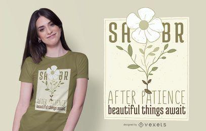 Diseño de camiseta de texto de flores