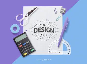 Maquete de papel editável para educação
