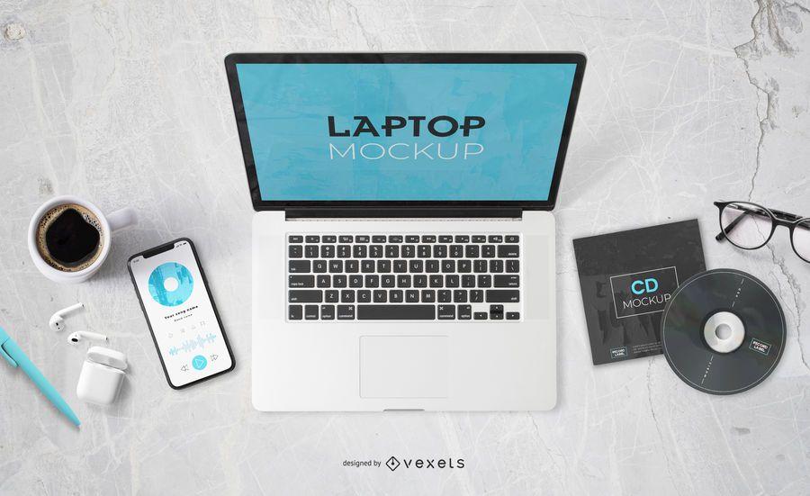 Music Elements Laptop Screen Mockup