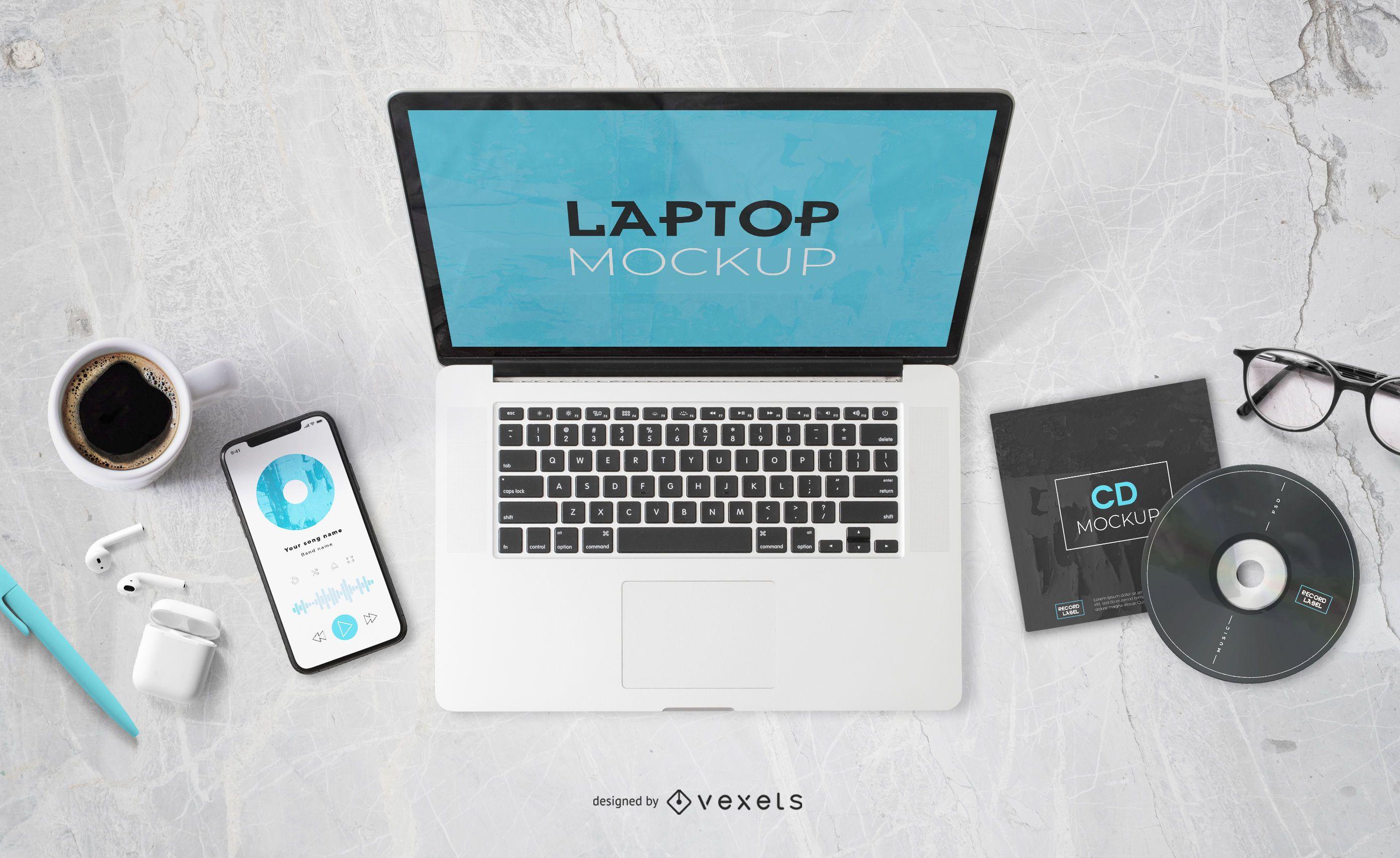 Mockup da tela do laptop do Music Elements