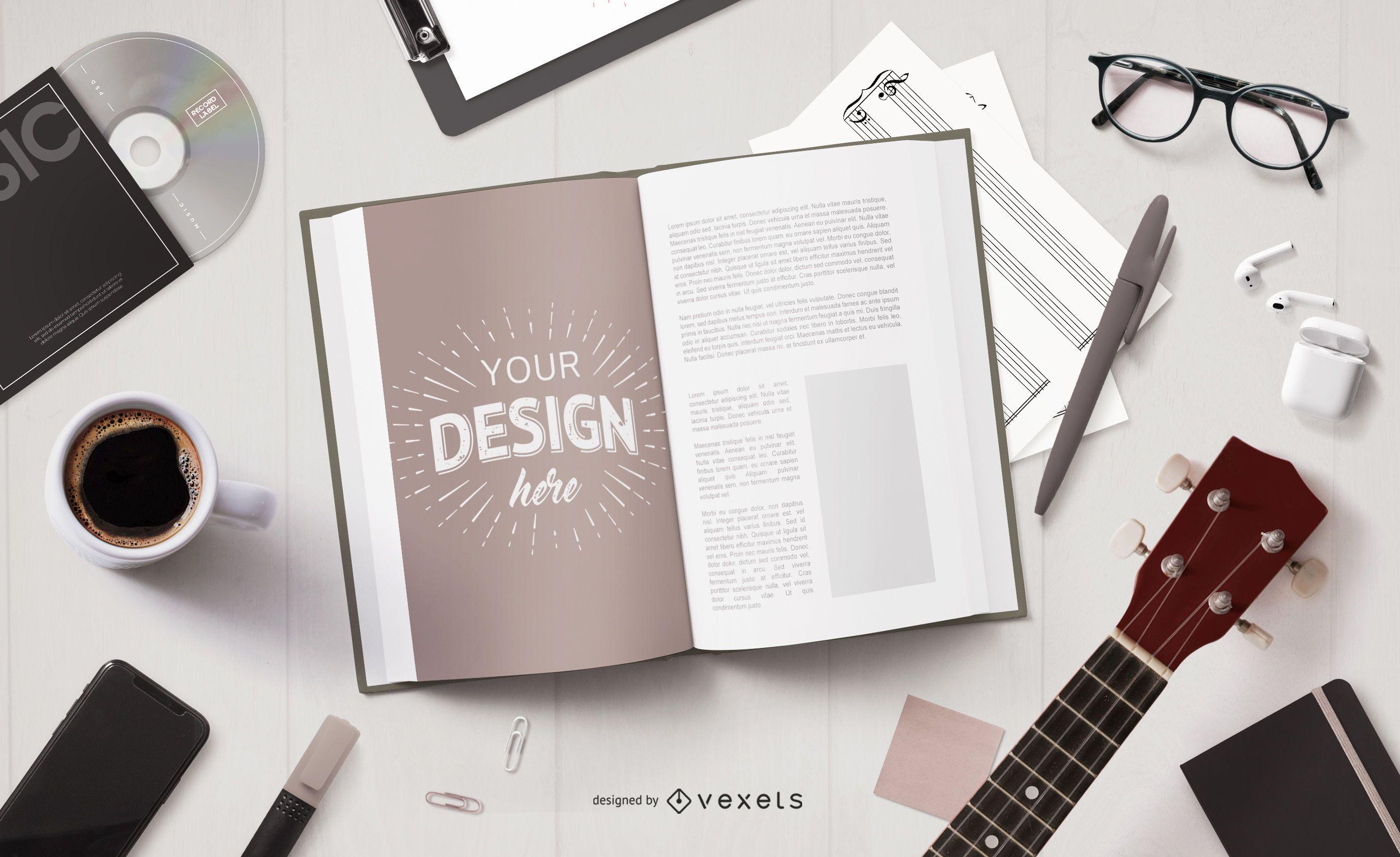 Maqueta de la página del libro de elementos musicales