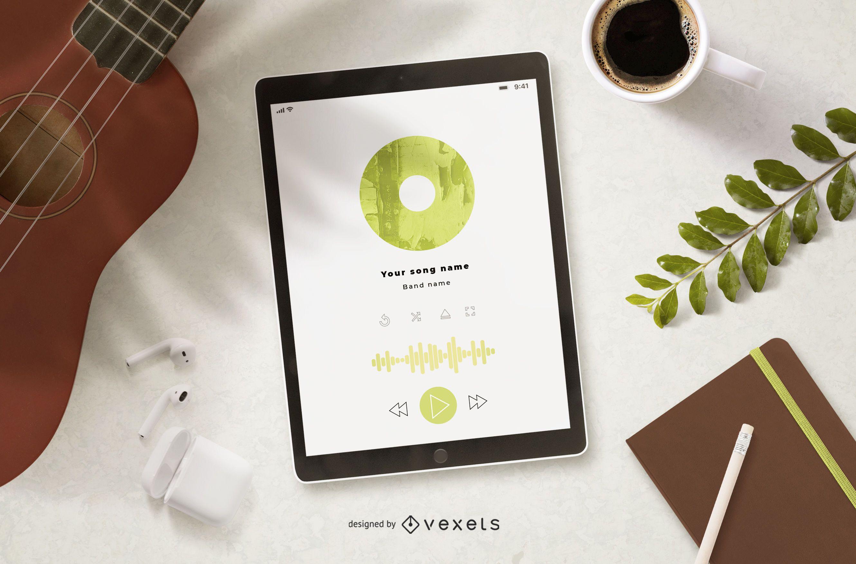 Maqueta de pantalla de tableta de reproductor de música