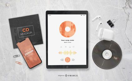 Music Elements Composition Mockup