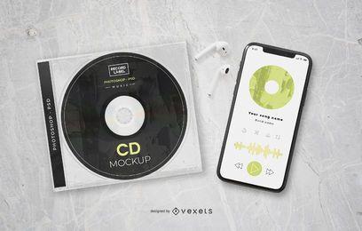 Maquete de marca de elementos de música