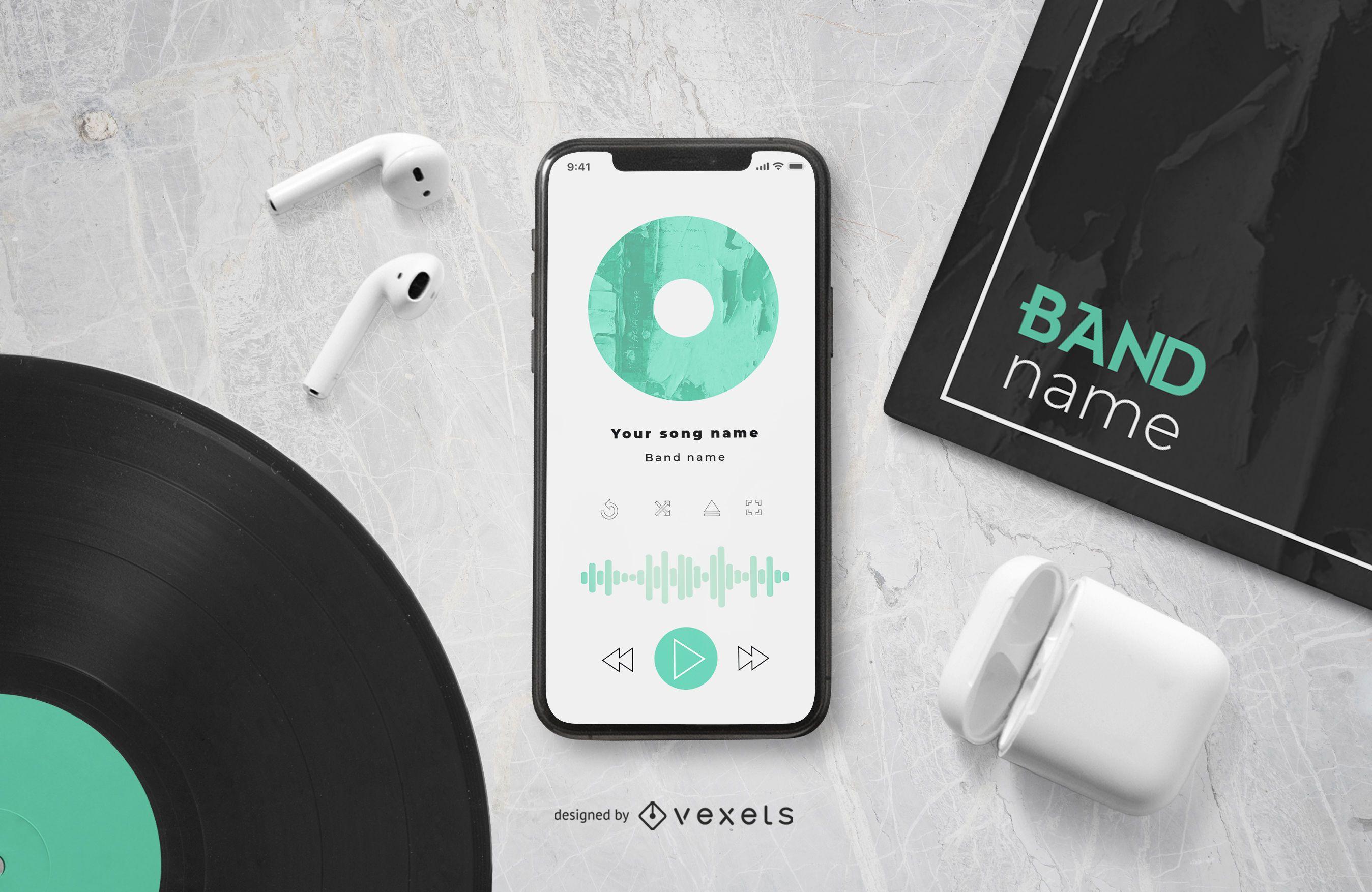 Maqueta de Smartphone con Reproductor de Música