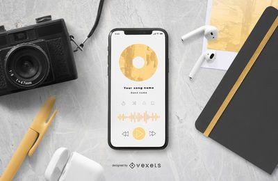 Maqueta de música de pantalla de teléfono inteligente