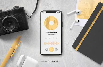 Smartphone Screen Music Mockup