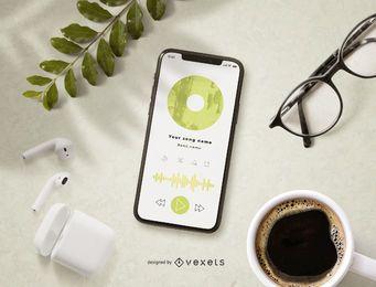 Maqueta de pantalla de aplicación de música