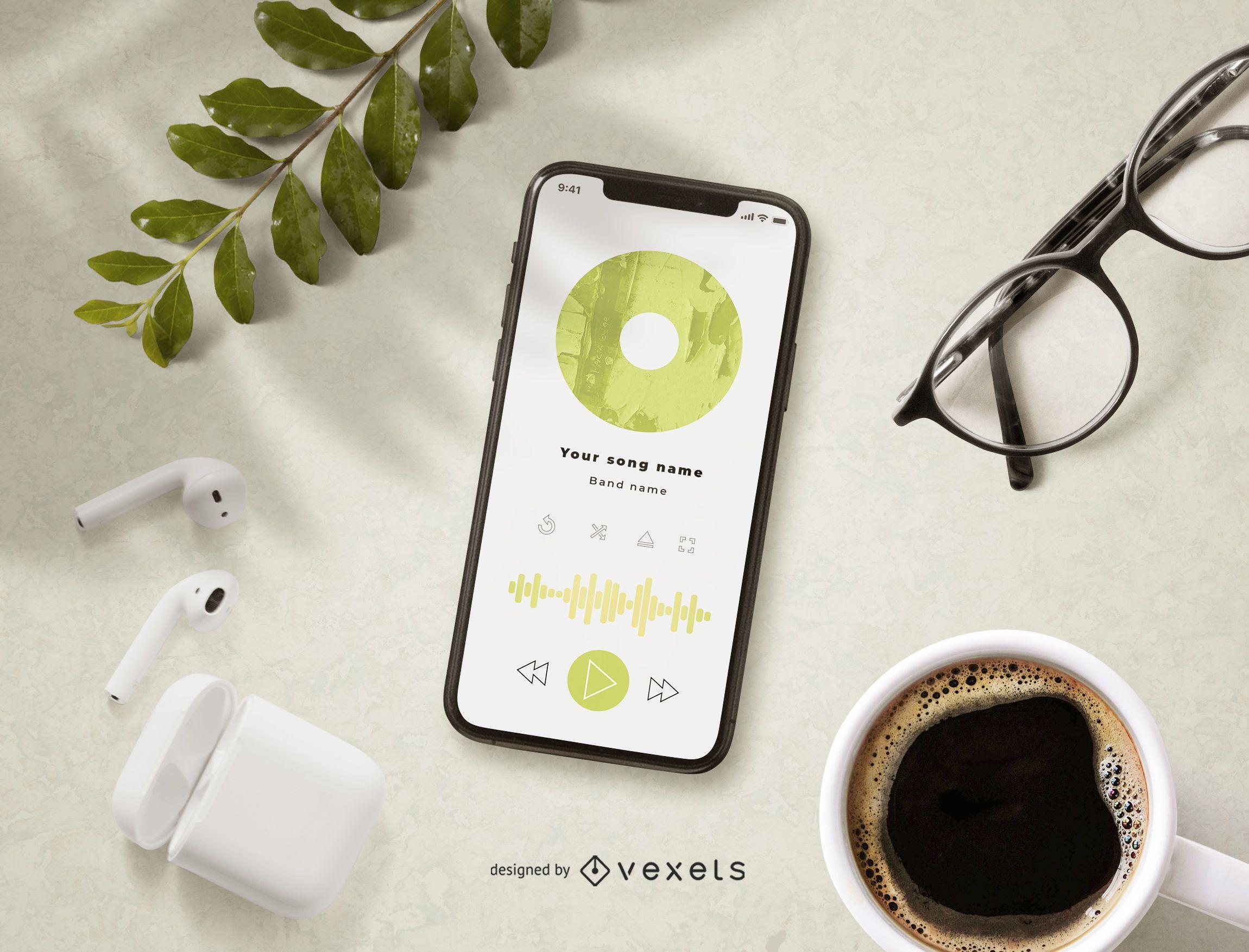 Maqueta de la pantalla de la aplicación de música