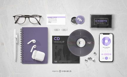 Organized Music Elements Composition Mockup
