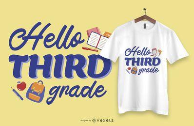 Hola diseño de camiseta de texto de tercer grado