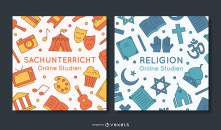Paquete de banners de educación escolar de Alemania