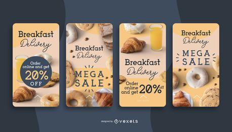 Histórias de mídia social de entrega de café da manhã