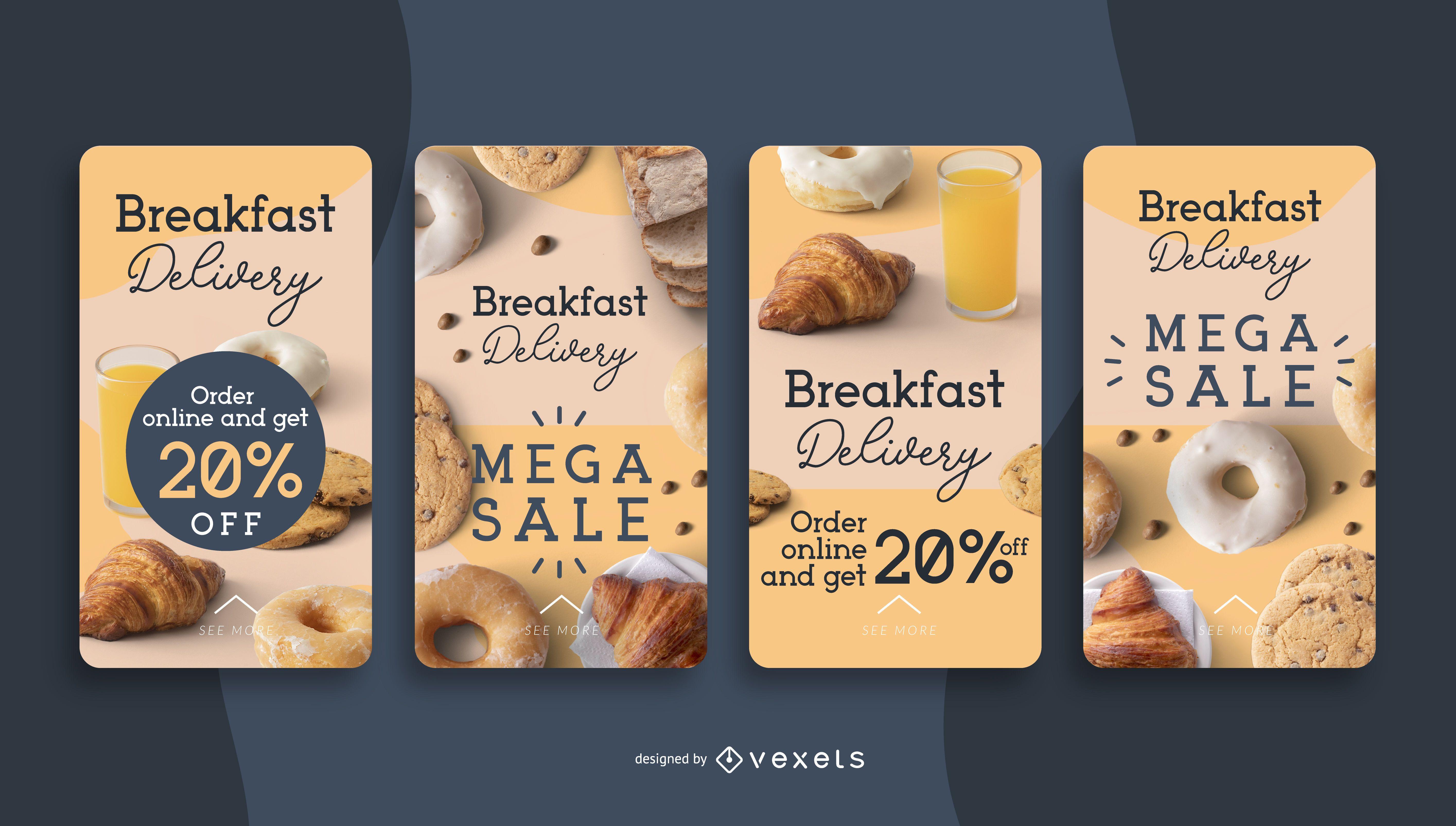 Historias de redes sociales de entrega de desayuno