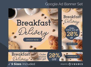 Conjunto de banner de anuncio de entrega de desayuno