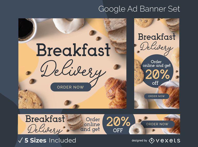 Conjunto de banner de anuncios de entrega de desayuno