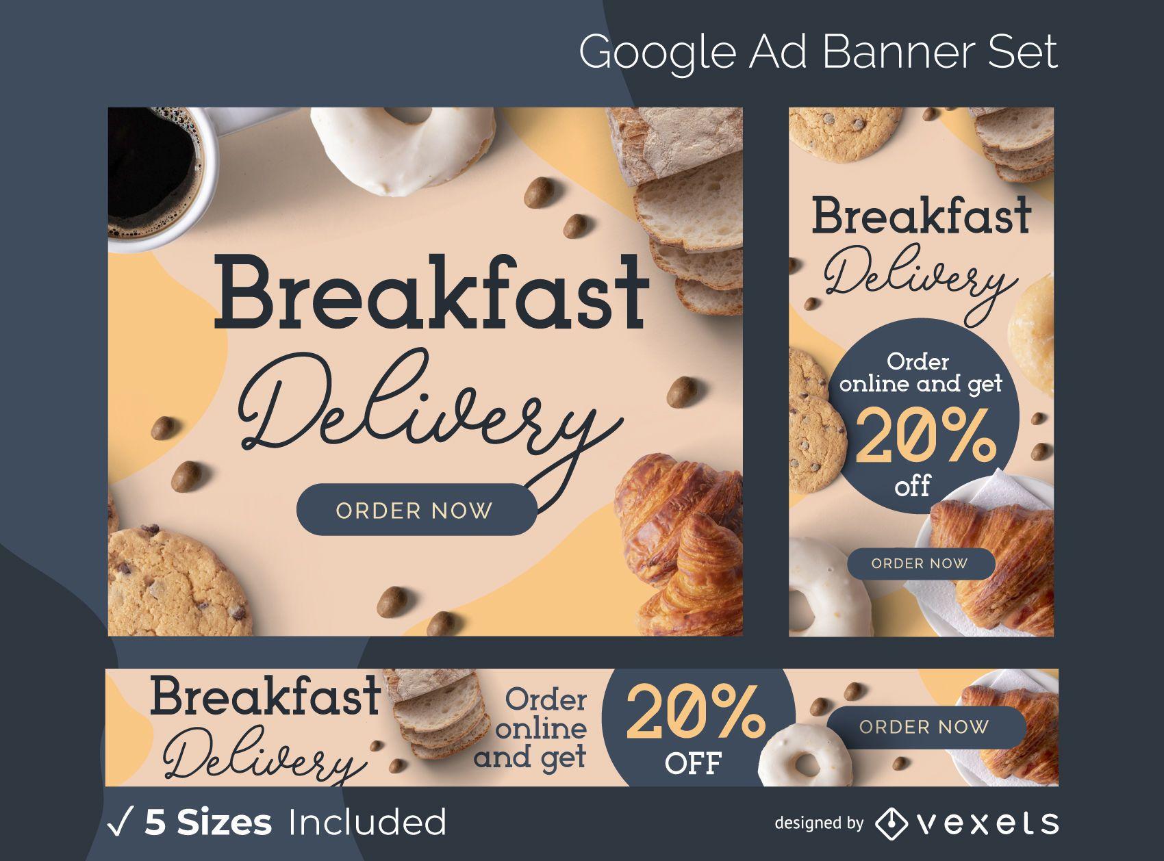 Conjunto de banner de anúncio de entrega de café da manhã