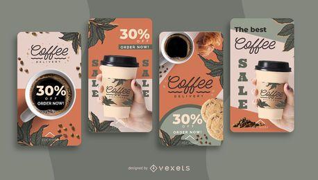 Conjunto de histórias de entrega de café nas redes sociais
