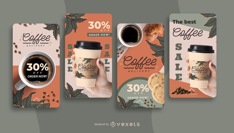 Conjunto de historias de redes sociales de entrega de café.