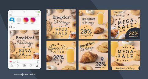 Entrega de café da manhã conjunto de post de mídia social