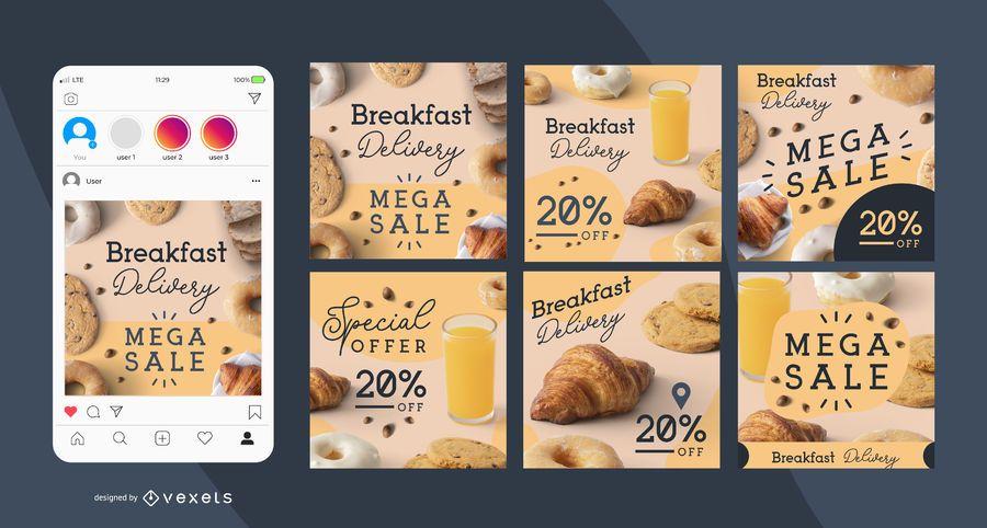 Conjunto de publicaciones de redes sociales de entrega de desayuno