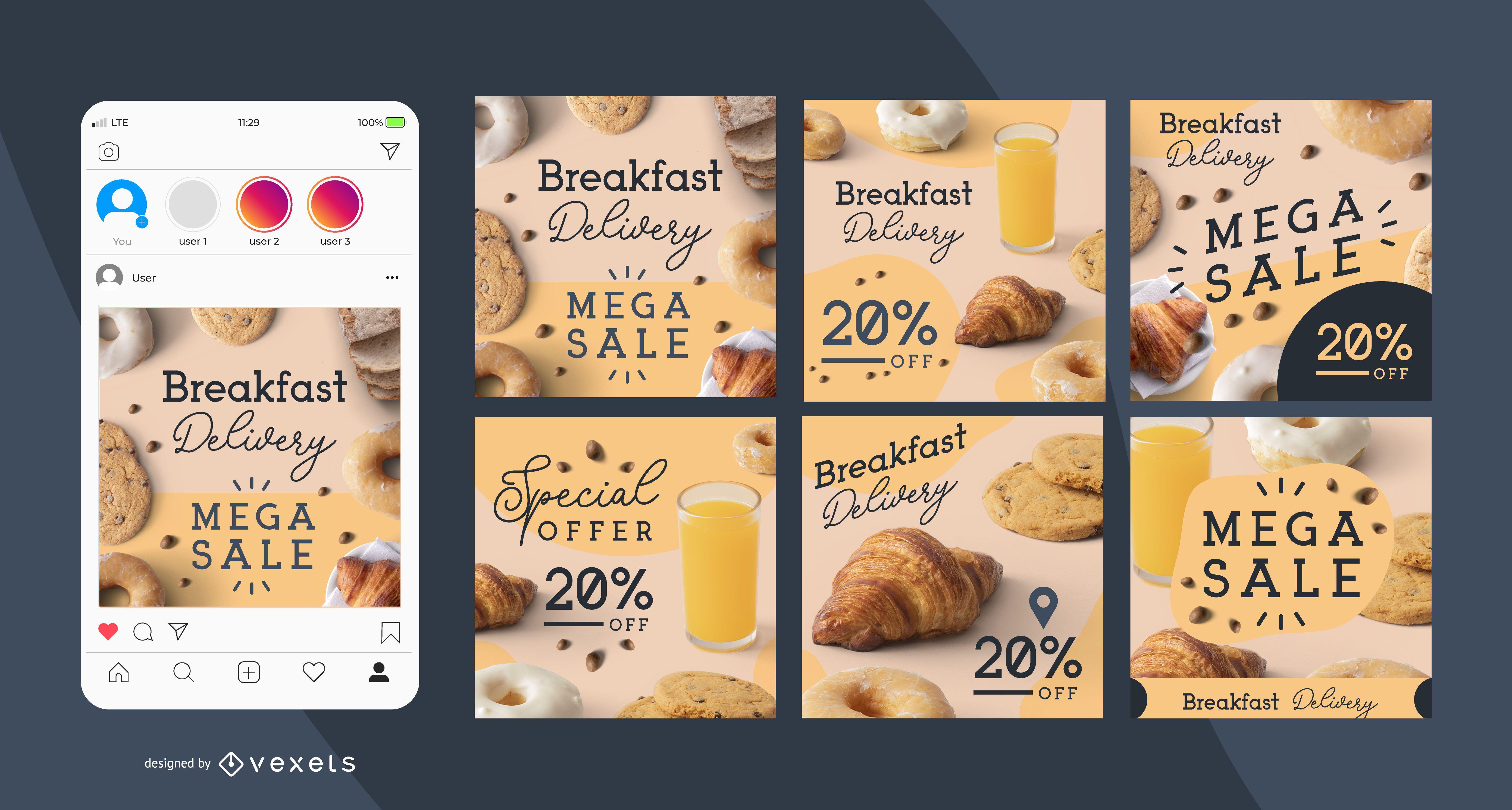 Breakfast delivery social media post set