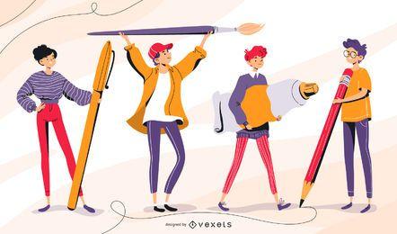 Conjunto de caracteres de la escuela para adolescentes