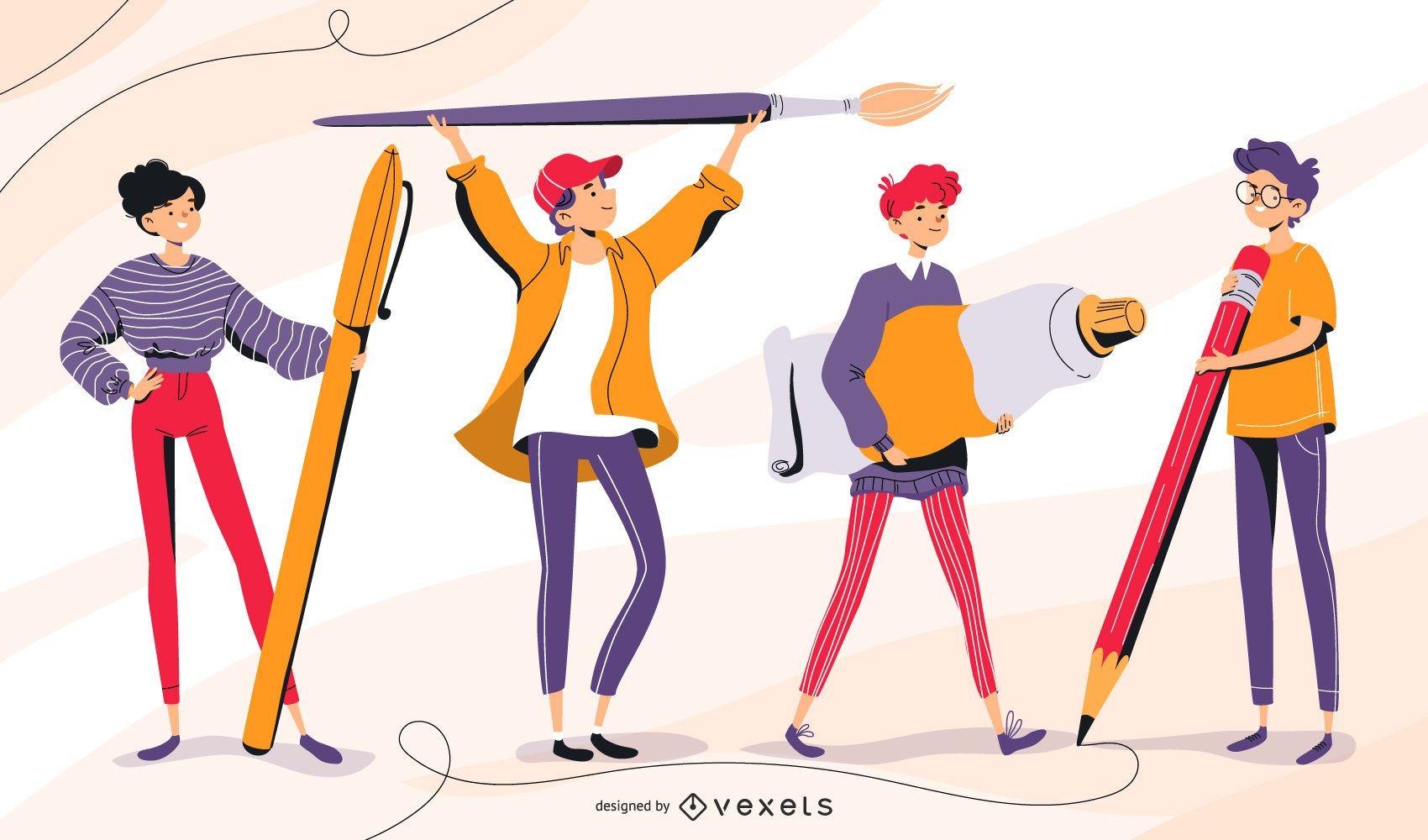 Teens school character set
