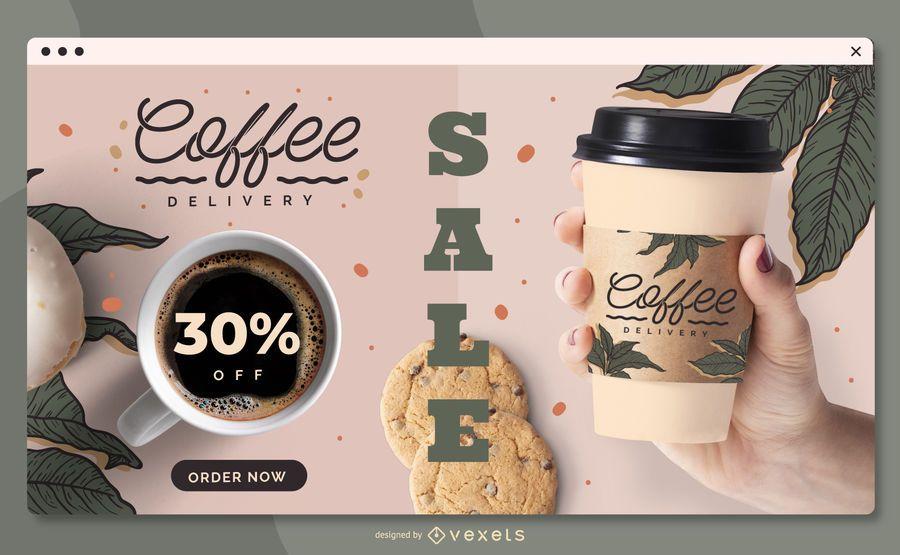 Plantilla de página de destino de entrega de café