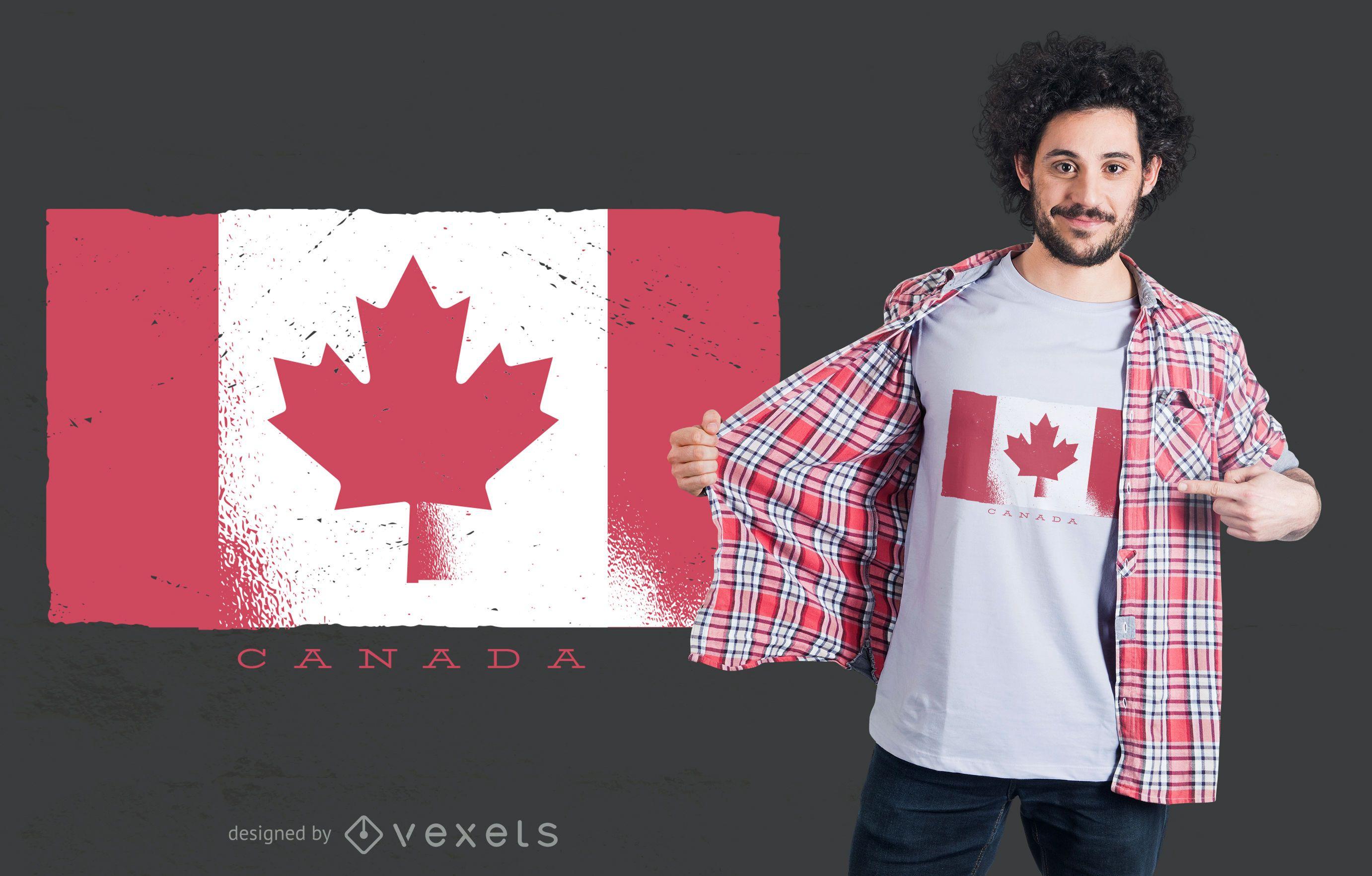 Dise?o de camiseta de bandera de Canad? Grunge