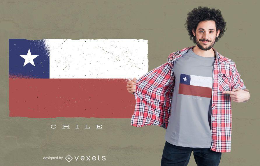 Design de t-shirt de bandeira do Grunge do Chile